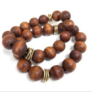 Jewelry - 2 Natural Wood and Brass Stretch Bracelets